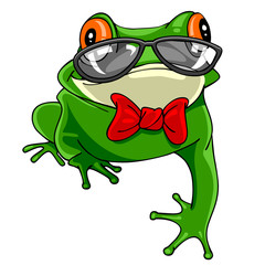 Cartoon green frog with a bow tie in glasses