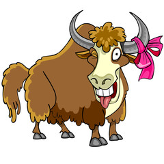 Cartoon bison with a bow on the horn winks and shows tongue