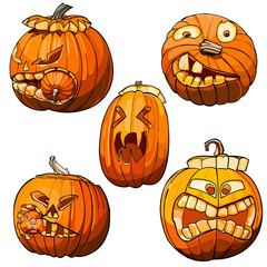 Funny toothy pumpkins for Halloween, set