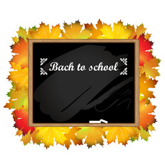 Back to school, written on blackboard with chalk