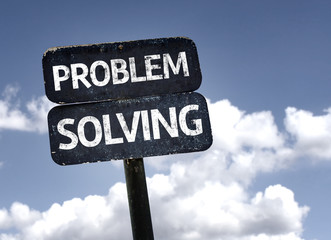 Problem Solving sign with clouds and sky background