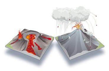Volcan rouge, volcan gris