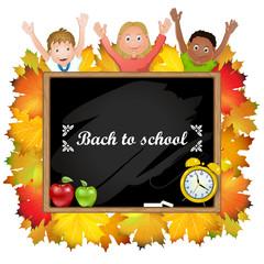 Illustration of children school and  blackboard