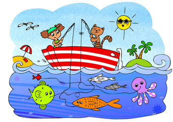 Maze game for little children about fishing,