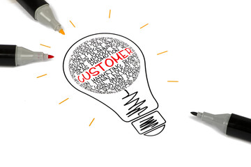 customer concept shown in light bulb