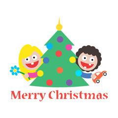 girl and boy merry christmas gift tree