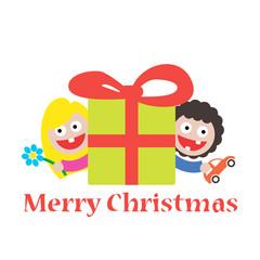 girl and boy merry christmas gift