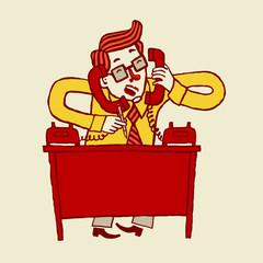 Занятой бизнесмен говорит одновременно по двум телефонам