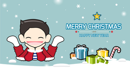 Happy children with christmas presents.Vector illustration