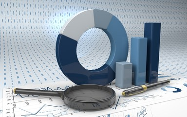 Charts Financial Analysis  with pen and magnifying glass