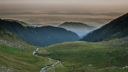 Fagaras mountains  Negoiu  hut  fog in valley  4K