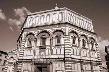 Baptistery in Florence, Italy - sepia tone monochrome style