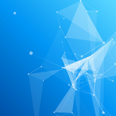 Blue Abstract Mesh Background with Circles, Lines and Shapes