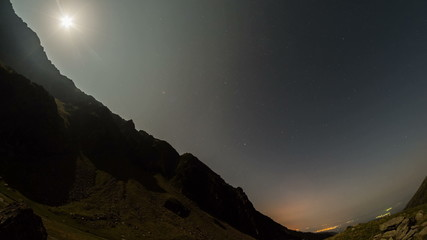 Fagaras mountain valley moon setting 4K