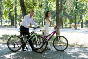 Bride groom and bikes