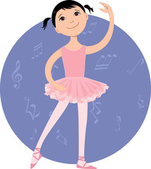 Cute cartoon little girl practising ballet