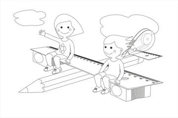 Avión y material escolar niñas líneas