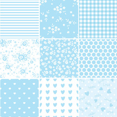 Set of abstract blue seamless patterns