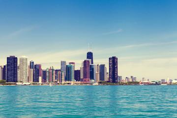 Chicago Skyline With Blue Clear Sky