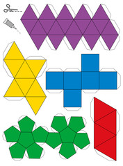 Platonic Solids Paper Model Template