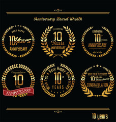 Anniversary laurel wreath retro labels, 10 years