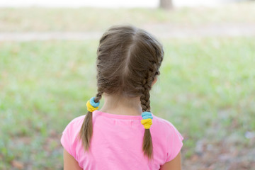 little girl with pigtails