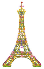 Eiffel tower from flowers