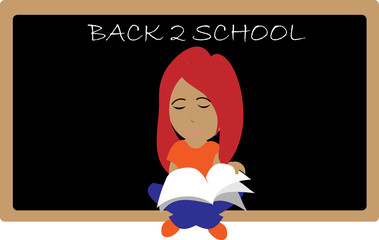 Girl with blackboard and book