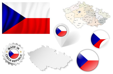 Set of flags, maps etc. of Czech Republic - isolated on white