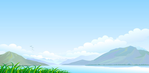 Lake , hills and vast blue sky