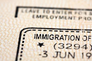 Immigration stamp in passport.