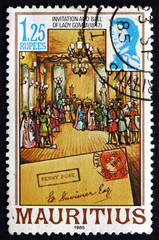 Postage stamp Mauritius 1985 Invitation and Ball of Lady Gomm
