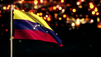 Venezuela National Flag City Light Night Bokeh Loop Animation