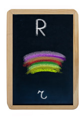 letter R on blackboard