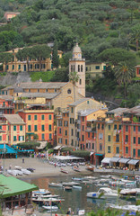Pyazzet Square and St Martin's Church. Portofino, Italy