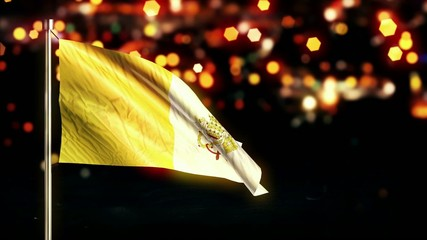 Vatican City National Flag City Light Night Bokeh Loop Animation