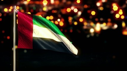 United Arab Emirates National Flag City Light Night Bokeh Loop