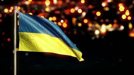 Ukraine National Flag City Light Night Bokeh Loop Animation