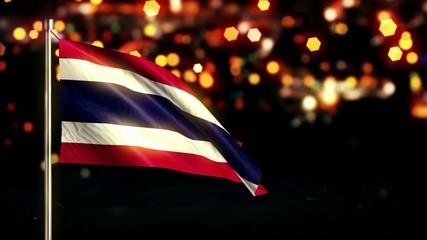 Thailand National Flag City Light Night Bokeh Loop Animation