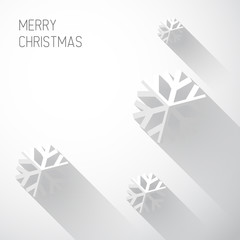 Modern white christmas card with flat design