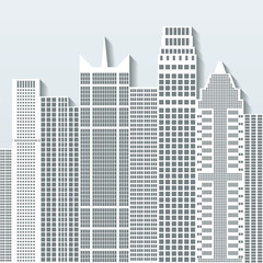 Modern cityscape vector illustration with office buildings