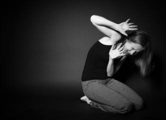 woman experiences depression, fear, despair, loneliness