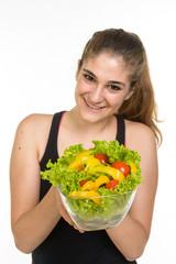 Ragazza con insalata