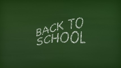Back to School animation being written on green chalkboard