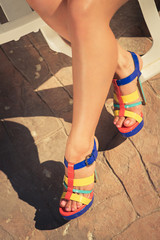 Woman feet with high-heel shoes