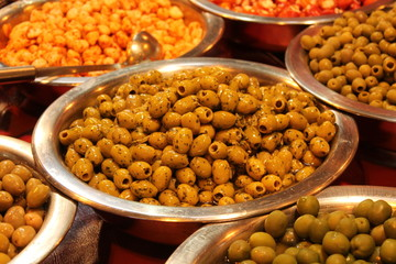 Metal Bowls with a Variety of Prepared Olives.