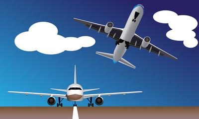 Passenger planes avoiding crash