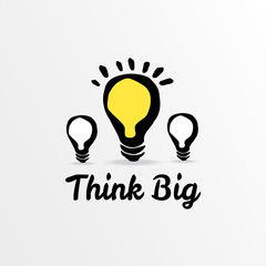 Think big light bulb sketch, vector illustration