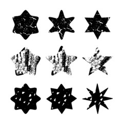 Set of black hand drawn isolated stars,vector objects