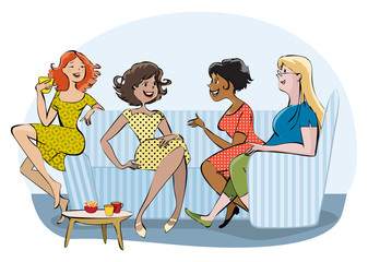 Group of a chatting women